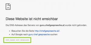 Fehlermeldung wenn der DNS für den WebSpace noch nicht überall verfügbar ist.