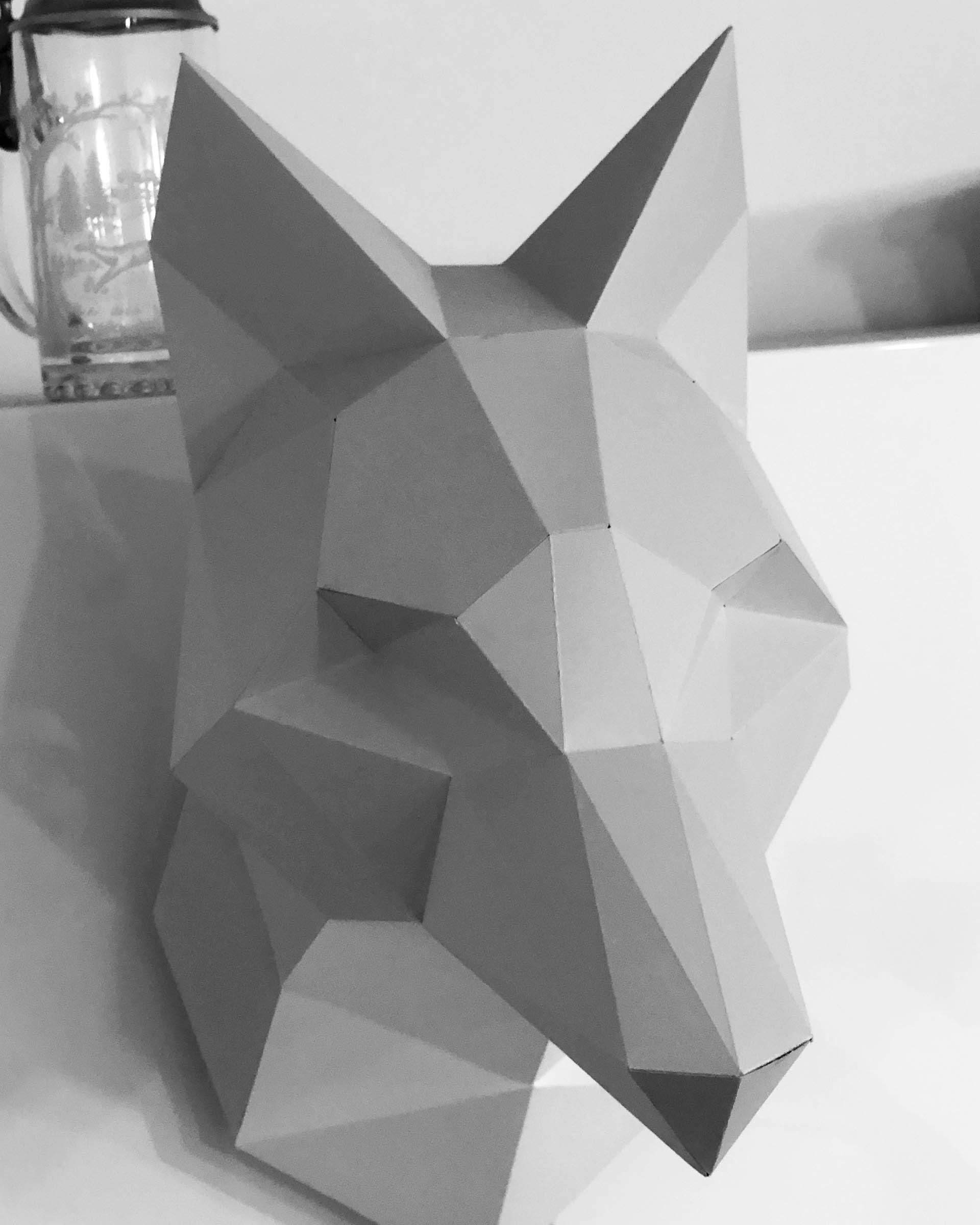 Papercraft - Ein Origami Fuchskopf aus Papier für deine Wand